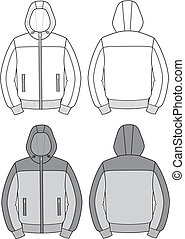 Hooded jacket - Vector illustration of hooded jacket Front...
