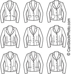 Jacket - Vector illustration of womens jackets