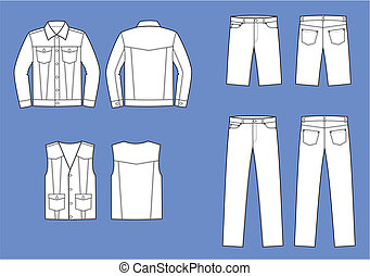 Jeans wear - Vector illustration of men's jeans clothes....