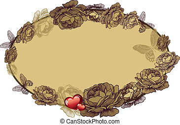 Vintage frame with roses and hearts, vector illustration.
