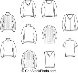 Knitted jumpers - Vector illustration of women's jumpers....