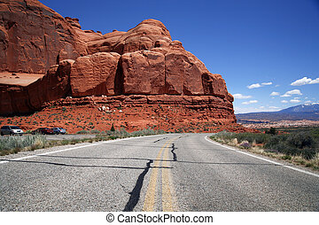 Road in the USA, south desert Utah