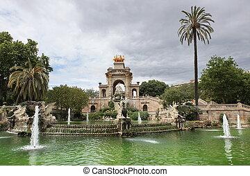 Fountain and cascade in park De la Ciutadella in Barcelona, Spain, Catalonia