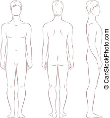 Man figure - Vector illustration of male silhouette. Front,...