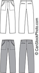 Pants - Vector illustration of sport pants. Front and back...
