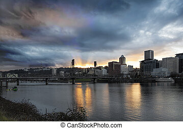 Sunset Over Portland Willamette River - Sunset Over Portland...