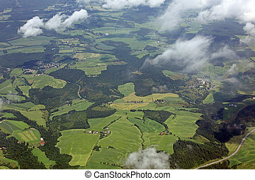aerial view over the beautiful rural landscape