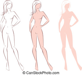Woman figure - Vector illustration of female silhouette