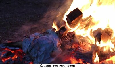 Burning garbage dump - close up