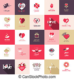 Big set of icons for Valentines day, Mothers day, wedding,...