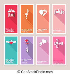 Set of Valentines day cards - Set of vector Valentines day...
