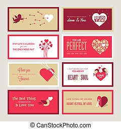 Set of Valentines day cards - Set of Valentines day greeting...