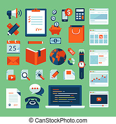 Flat icons set of business elements - Flat design vector...