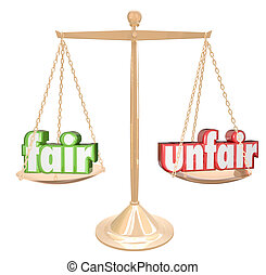 Fair Vs Unfair Words Scale Balance Justice Injustice - Fair...
