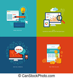 Icons for web and mobile services - Set of flat design...