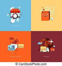 Flat icons for online shopping - Set of flat design concept...