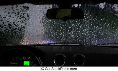 carwash time lapse - car going through drive in carwash,...