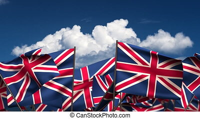 Waving United Kingdom Flags seamless alpha channel
