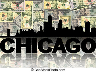 Chicago skyline reflected with dollars illustration