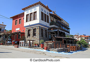 greek village, Amouliani island, Chalkidiki, Greece -...