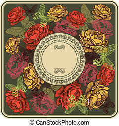 Vintage frame with roses and butterflies, vector illustration.