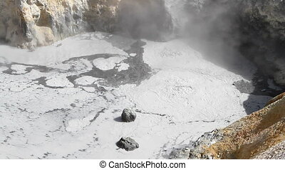 Bumpass Hell Boiling Springs - Geothermal vapor rises from...
