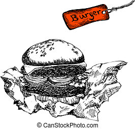 Burger with paper