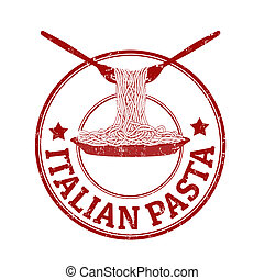 Italian pasta stamp - Italian pasta grunge rubber stamp on...