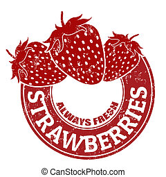Strawberries stamp - Grunge rubber stamp with strawberries...