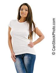 bianco, donna, proposta, camicia, vuoto