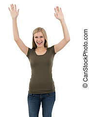 Excited woman posing with arms up - Young beautiful sexy...