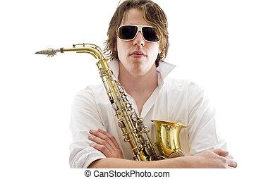 les, saxophone, joueur