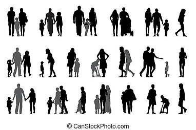 Parents and children with pram Silhouette Vector...