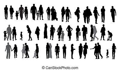 Conjunto, silueta, ambulante, gente, niños, vector,...
