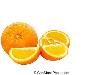 Whole orange fruit and his segments or cantles isolated on...