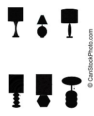seventies lamps in silhouette