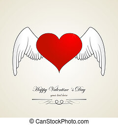 Happy valentine day heart with angel wings. Red white
