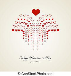Drawn graphic heart vector background, happy valentines day