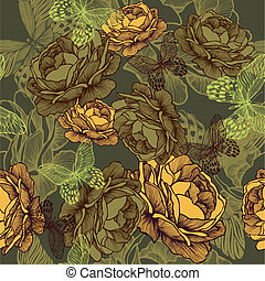 Vintage seamless background with roses and butterflies. Vector illustration.