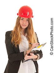 Female builder with helmet
