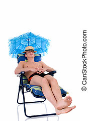 Relaxing man, vacation - Attractive young man in beach...