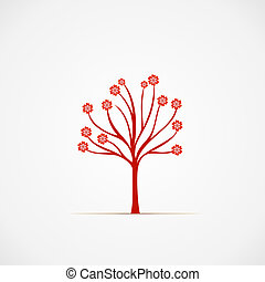 Blossom - simple tree with flowers vector illustration.