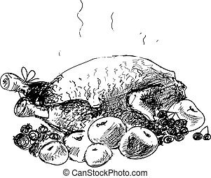 Chicken with apples. Hand drawn illustration