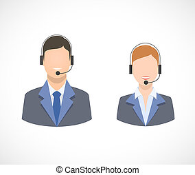 Call center support personnel staff icons isolated vector...