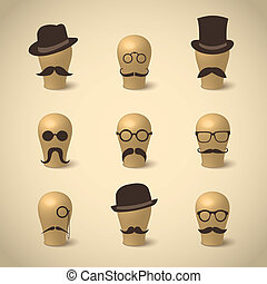 Set of retro mustaches hats and glasses on hat-blocks icons...