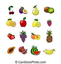 Fruits icons set of orange grape apple strawberry kiwi...