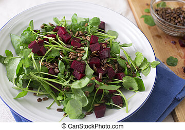 Healty Beetroot Salad - Watercress and beetroot salad with...