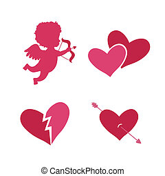 Set of cupid icons with heart arrows and angel isolated...