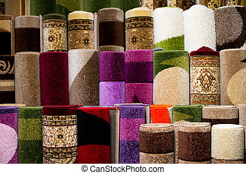 Rolled Rugs Inside A Rug Store - Colorful Collection Of...