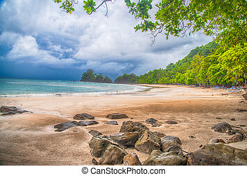 Costa Rica beach in a storm - Beautiful La Playa Blanco,...
